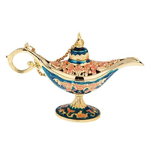 MonkeyJack Flor Anhelada Lámpara de Aceite Magia Panto Árabe Luz Aladdin Genie Lámpara Caja de Partido Prop azul
