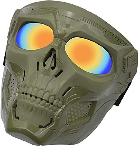 N\C Pistola de aire ajustable máscara táctica de cara completa con lente de PC, pistola de aire paintball máscara táctica para Halloween y juegos al aire libre CS