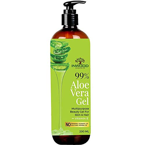Organic Aloe Vera Gel with 99% Pure Aloe from Best Multipurpose Moisturising Beauty Aloe Vera Gel for Face, Skin & Hair with Vitamin E, Paraben Free - 200 ml Pack 2