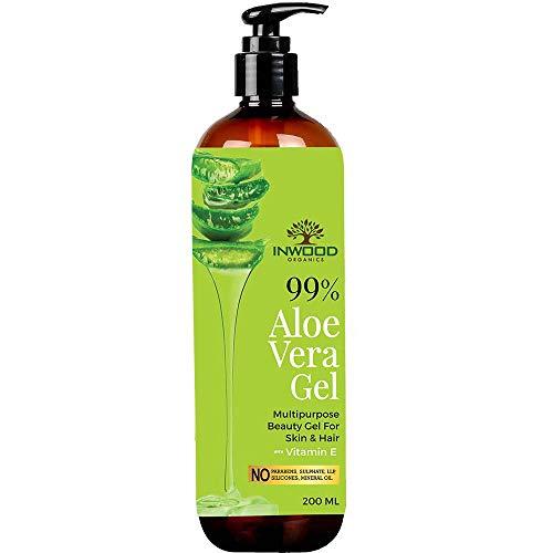Organic Aloe Vera Gel with 99% Pure Aloe from Best Multipurpose Moisturising Beauty Aloe Vera Gel for Face, Skin & Hair with Vitamin E, Paraben Free - 200 ml Pack 2