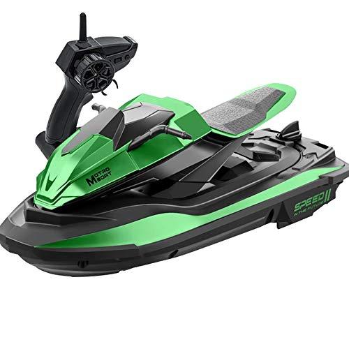 OUUED 1/14 Modell Motorboot Schiff Wiederaufladbare Antikollision Spielzeug RC Boote 2.4 GHz High Speed Green Jet-Ski Elektrische Radio Fernbedienung Boote für Pools Lakes Outdoor Erwachsene Jungen