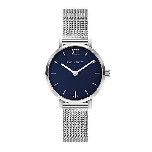 PAUL HEWITT Reloj de muñeca para Mujer en Acero Inoxidable Sailor Modest Blue Lagoon - Reloj de Mujer con Correa de Acero Inoxidable, Reloj de muñeca para Mujer en Plata con Esfera Azul