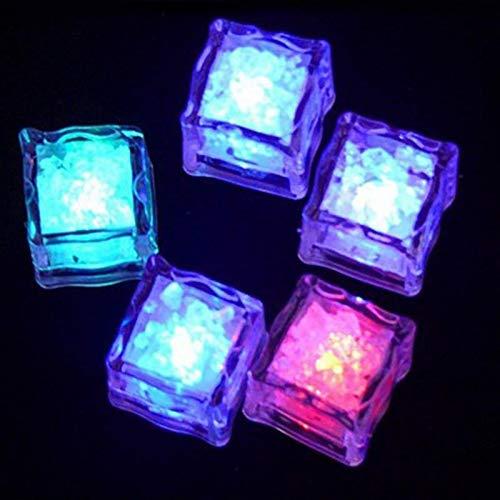 Cubo de hielo, 5 PCS Colorido Cubos de hielo Brillantes Copa de vino Decoración de vidrio LED Bloque Fluorescente Parpadeando Inducción Lámpara de hielo Boda Día de San Valentín Cubo de la enfriadora
