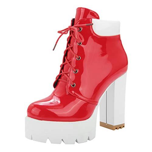 MISSUIT Damen High Heels Schnürung Stiefeletten Blockabsatz Lack Ankle Boots Plateau Schnür Kurzschaft Stiefel(Rot,34)