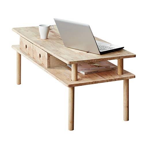 Tables basses Table Table Basse Minimaliste Moderne Pure en Bois Massif avec tiroir Armoire Salon (Color : Beige, Size : 120 * 50 * 45cm)