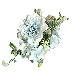 Cloudy Clouds Camellia Bouquet Fake Peony Flower Artificial Silk Begonia Blue Rose Bridesmaid Bouquet Flower Home Wedding Flowers
