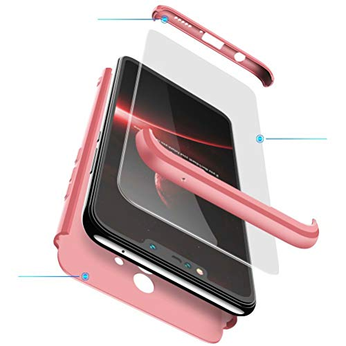 BESTCASESKIN Funda Compatible con Xiaomi Mi MAX 3, Carcasa Móvil de Protección de 360° 3 en 1 Desmontable con HD Protector de Pantalla Caso Case Cover [Anti Huellas Dactilares] Rose Oro