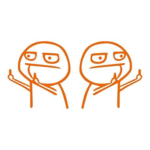 Etiqueta engomada del coche Etiqueta engomada 3D 17cm * 15 cm dedo medio dedo auto motocicletas auto pegatinas reflectante impermeable coche estilo etiqueta engomada (Color Name : Orange)
