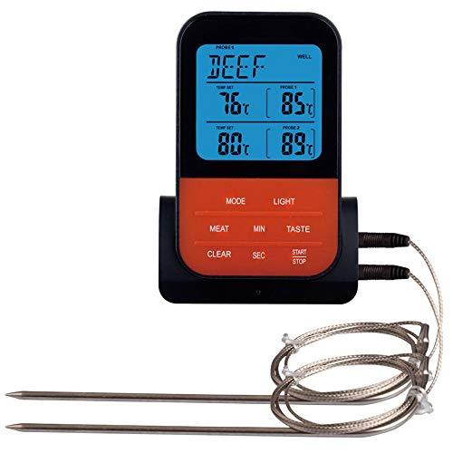JIJI886 Thermomètre de Cuisine Numérique, Thermometre avec l'alarme la Fonction de minuterie, Double Sondes en Acier Inoxydable pour Barbecue, Gril, Four, Fumeur ect (Noir)
