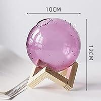 ミニバセクリエイティブガラス花瓶ヒドロポニック花瓶装飾的な花透明花瓶1pc (Color : Purple-Height 12cm)