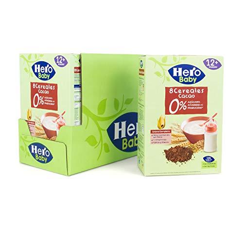 Hero Baby - Papilla de 8 Cereales con Cacao sin Azúcares Añadidos, para Bebés a Partir de los 12 Meses - Pack de 6 x 340 g