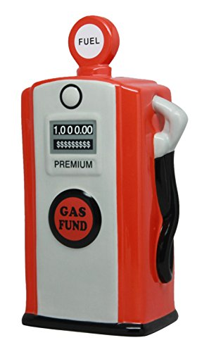 PTC Pacific Giftware Ceramic Gas Pump Savings Piggy/Coin/Money Bank, Red by PTC