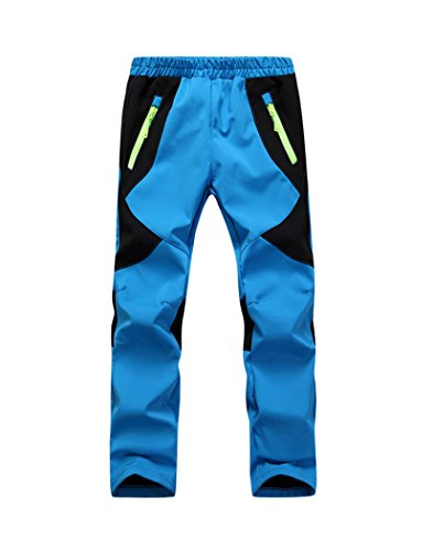 Youth Snow Pants with Reinforced Knees and Seat,Warm Climbing Trousers For Boys and Girls Blue M