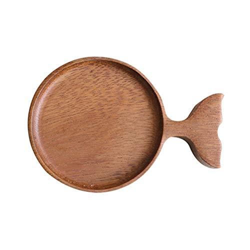 Swakom Ciotolina Piccola, Piatto di Salsa di Legno, Forma di Pesce Ciotola di Salsa da Immersione Piatto da aperitivo di Snack in Legno Ciotola di Salsa da Immersione