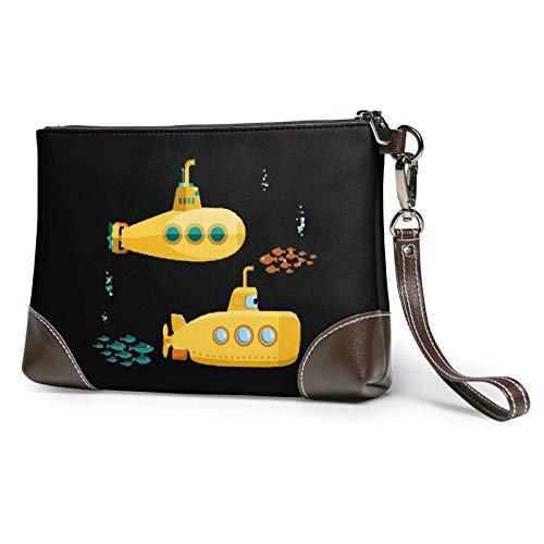 XCNGG Gelbe U-Boot-Unterwasser mit Fischen Bedruckte Clutch-Geldbörse Abnehmbare Leder-Wristlet-Brieftasche Damenhandtasche