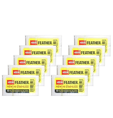Shaving Factory 100 Feather Edelstahl zweischneidige Sicherheits-Rasierklingen, 1er Pack (1 x 1 Stück)