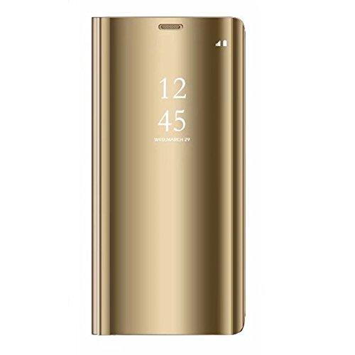 Tianyan Funda Xiaomi Mi8 Lite,Inteligente Espejo Clear View Flip Cover Carcasa Plegable Soporte Funda para Xiaomi Mi8 Lite,Dorado