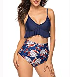 UMIPUBO Costumi da Bagno a Vita Alta, Ruffle Bikini Set con Pettorale per Donna, Due Pezzi Floreale Reggiseno e Pantaloni, S-XL Coordinati da Bikini per Spiaggia Estate