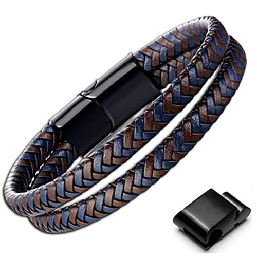 Genac - Pulsera doble para hombre de piel auténtica trenzada de alta calidad, marrón y azul, con cierre magnético extraíble de acero inoxidable para ajustar fácilmente la longitud