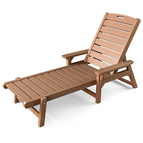 OT QOMOTOP Chaise Lounge Outdoor, 5 Adjustable Backrests Lounge Chair, Reclining All Weather Poly Lumber Chairs for Pool, Porch, Patio