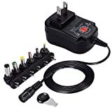Qkenvo 30W US Plug AC/DC Adapter 3V-12V Multi Voltage Charger Kit Power Supplier with USB Port for Phone, Tablets and Other Electronics