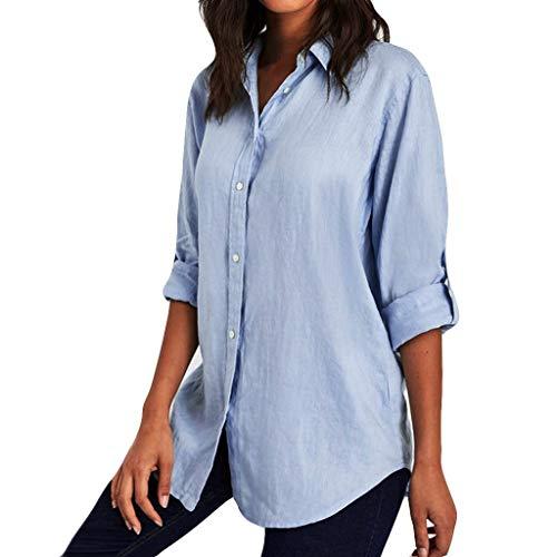 Fantastic Prices! Toimothcn Women Button Down Shirts Cotton V-Neck Long Sleeve Plus Size Henly Bloue...