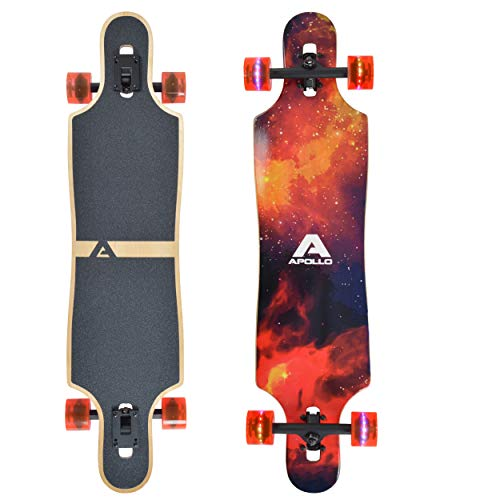 """Apollo Longboard Redshift 40\"""" Komplettboard mit LED-Wheels und High Speed ABEC Kugellagern, Drop Through Freeride Skaten Cruiser Board"""