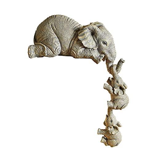 ZECAN Figuras De Elefante Cariñosas, Estatua De Adorno Colgante para Madre Y Dos Bebés, Escultura De Resina Artesanal De Elefante para Decoración De Jardín