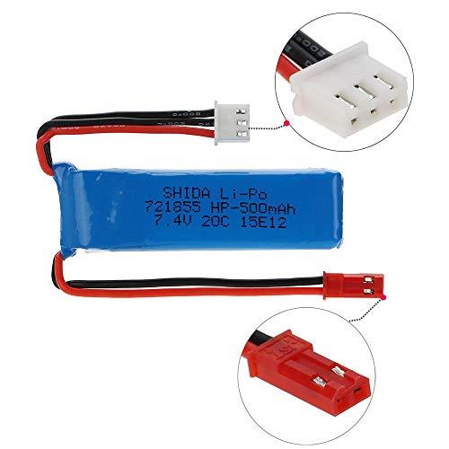 zjpvip218 7,4 V 500 mAh 20 C Lipobatterie 2s mit Verbindungskabel für A202 A212 A222 A232 A242 A252 4WD RC Car-1 Stück