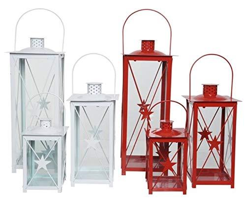 Kaemingk Lanterna In Ferro Rosso/Bianco Natale Decorazioni E Oggettistica, Multicolore, 8718532673815