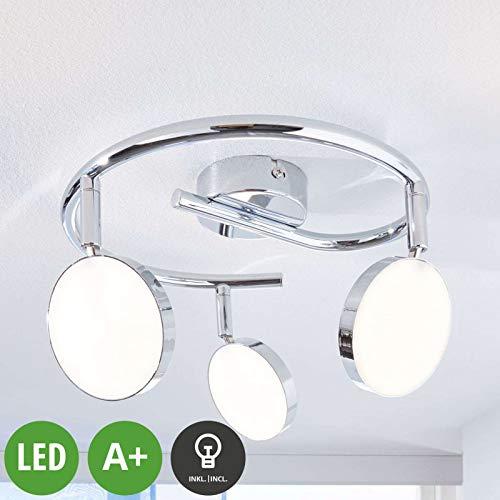 Lampenwelt LED Deckenlampe 'Keylan' (Modern) in Chrom aus Metall u.a. für Wohnzimmer & Esszimmer (3 flammig, A+, inkl. Leuchtmittel) - Deckenleuchte, Wandleuchte, Strahler, Spot, Lampe