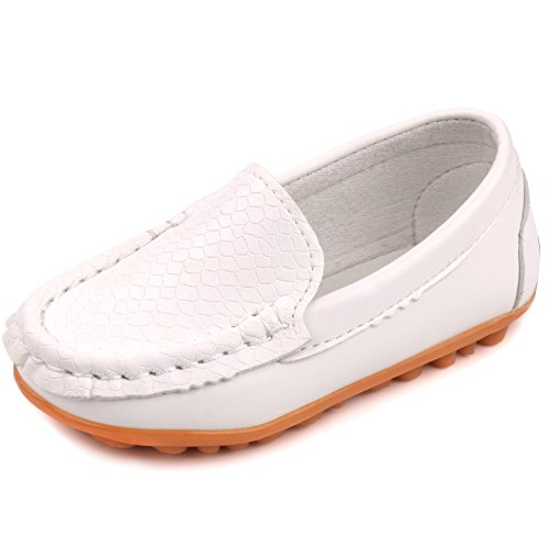 Femizee Toddler Boys Girls Loafers Shoes Casual Moccasin Slip On Dress Wedding Shoes for Kids,White,1301 CN 21