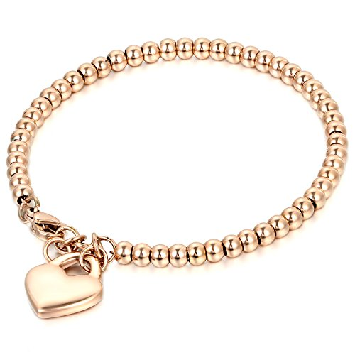 JewelryWe Schmuck Charme Damen Kugel Perlen Armband,Handgelenk Kugel Perlenkette mit solid Herz Anhänger Herzkette, Edelstahl Armreif, Rosegold