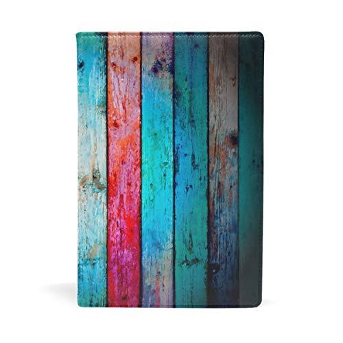 EZIOLY Bucheinband, rustikal, aus Holz, dehnbar, passend für die meisten Hardcover-Lehrbücher bis 22,6 x 14,5 cm, klebstofffreier Stoff, für Schulbücher Einfach anzubringen. Wash & Re-Use