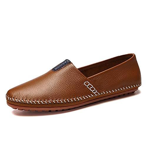 Holgazanes de conducción for los Zapatos de Cuero de los Hombres se Deslizan Telas Vegano Acogedor y Transpirable fácil de Poner y lo Top Ruta Partido Ronda del Dedo del pie.