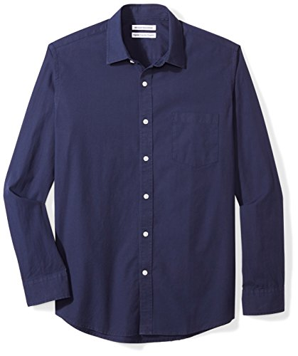 Amazon Essentials Long-Sleeve Solid Poplin Shirt Camicia, Blu (Navy), Large