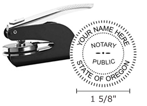 "Oregon Notary Seal Embosser, Pocket/Hand Model, 1-5/8"" Impression, Black"