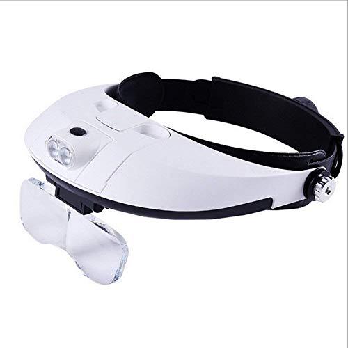 YO-TOKU Hands Free Head Magnifier, Horloges ambachten carving Repair sieraden beoordeling leesbril met 4 Verwisselbare HD Lenzen 1x 1,5x 2X 2,5x 3,5x LED verlichte Repareren Bril Vergrootglazen