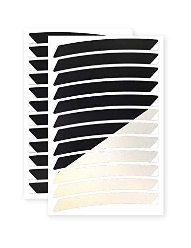 reflexsticker für Fahrradfelgen | schwarz oder weiß | 24 Streifen im Set | von 26 bis 29 Zoll Felgen | weiß reflektierend | Reflektoren-Aufkleber fürs Fahrrad Mountainbike (27,5ʺ/28ʺ/29ʺ, schwarz)