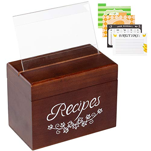 Vintage Wood Recipe Box with 80 Double Sided Recipe Cards 4x6 and 8 Dividers, Perfect Kitchen Cooking Gift set Idea for Mom Women Grandma Bridal Shower and Weddings, 6.9 x 3.9 x5.3 Inch