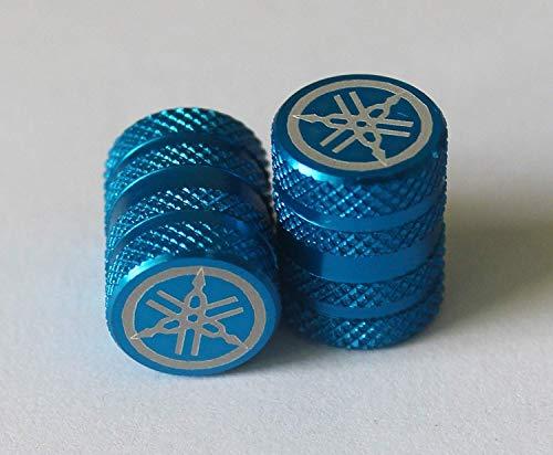2er Set Original Yamaha Stimmgabel Rändelrad Ausführung Blau Reifen Ventilkappen Staub Kappen Protektoren für Motorrad,Fahrräder,Atv , Auto, Van.