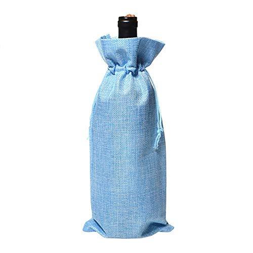 Haodou - Bolsa para botella de vino o botella de vino (lino), multicolor azul celeste