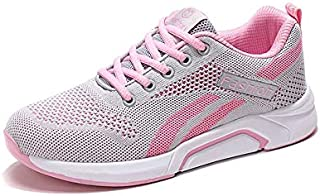FYXKGLa Spring New Flying Woven Mesh Sports Comfortable Light Travel Shoes Women's Breathable Casual Running Shoes Travel Ladies Shoes (Color : Gray-PNIK, Size : 36EU)