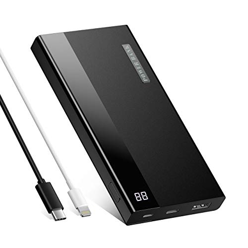 OMBAR Batterie Externe 20000mAh - Powerbank avec Port de USB Lighting et USB C Chargeur Portable avec 2 Câbles de Charge pour Samsung A21 Huawei Mate 40 Pro iPhone 12 Pro Max Mini