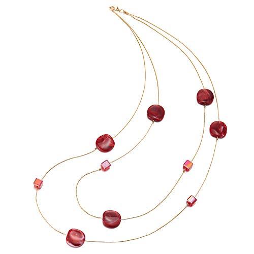 COOLSTEELANDBEYOND Elegante Gold Statement Halskette Zwei Strang Lange Kette mit Rot Würfel Kristall Perlen und Kreis Charme Anhänger