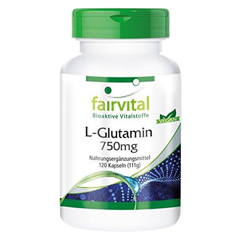 L-Glutamin Kapseln 750mg - HOCHDOSIERT - VEGAN - 120 Kapseln - freie Form der Aminosäure