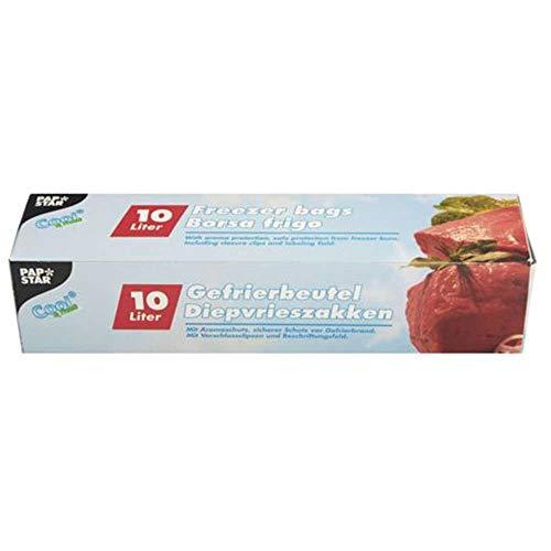 PAPSTAR Gefrierbeutel 10 Liter, 600 x 400 mm, transparent, Sie erhalten 1 Packung, Packungsinhalt: 24 Beutel