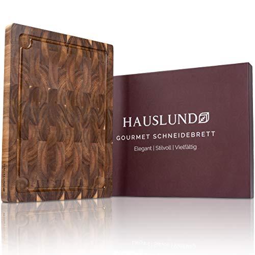 HAUSLUND® Schneidebrett Holz Groß 40x30x3cm, antiseptisches Akazien-Holzbrett mit Saftrille 3 integrierten Fächern & Anti-Rutsch-Füßen, Cutting Board - Schneiden &...