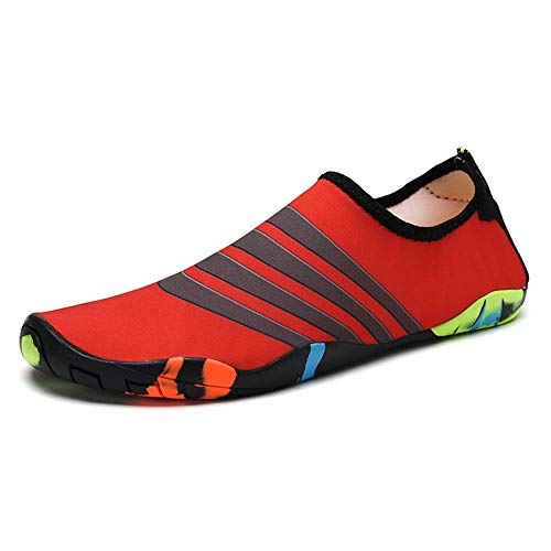 Jianghuayunchuanri Zapatos antideslizantes y transpirables para hombre al aire libre, zapatos casuales para buceo, playa, senderismo, yoga, ligeros y duraderos (color: rojo, talla: 41)