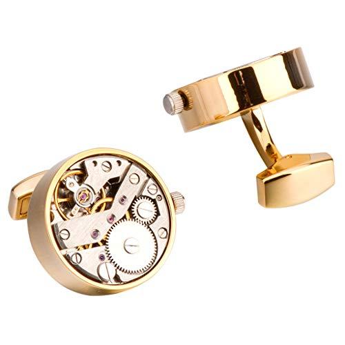 Herren Manschettenknöpfe Steampunk Zahnräder Mechanisches Uhrwerk Geschenk der Männer,Gold